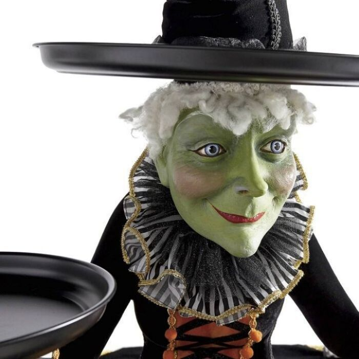 Katherine's Collection Mable Witch Tabletop Server with Harlequin Tablecloth
