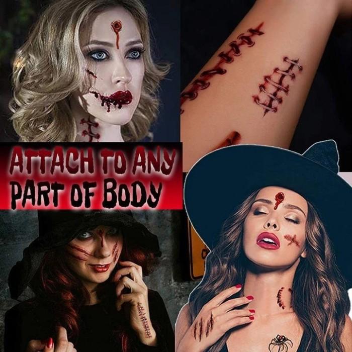 Halloween Wound Makeup Temporary Tattoo 10pcs/set