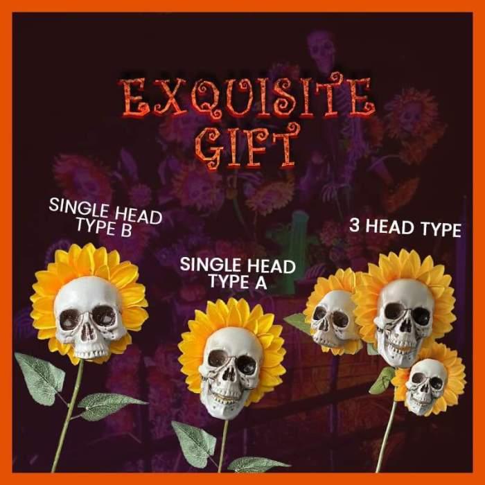 Halloween Sunflower Skulls, Halloween Decor