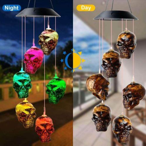 Solar Skeleton Skull Wind Chime Light