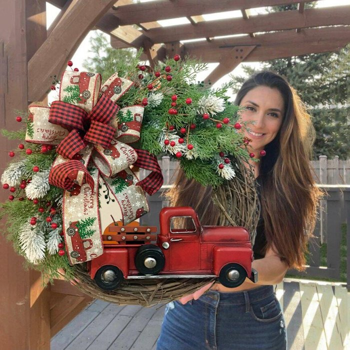 💐Red Truck Christmas Wreath