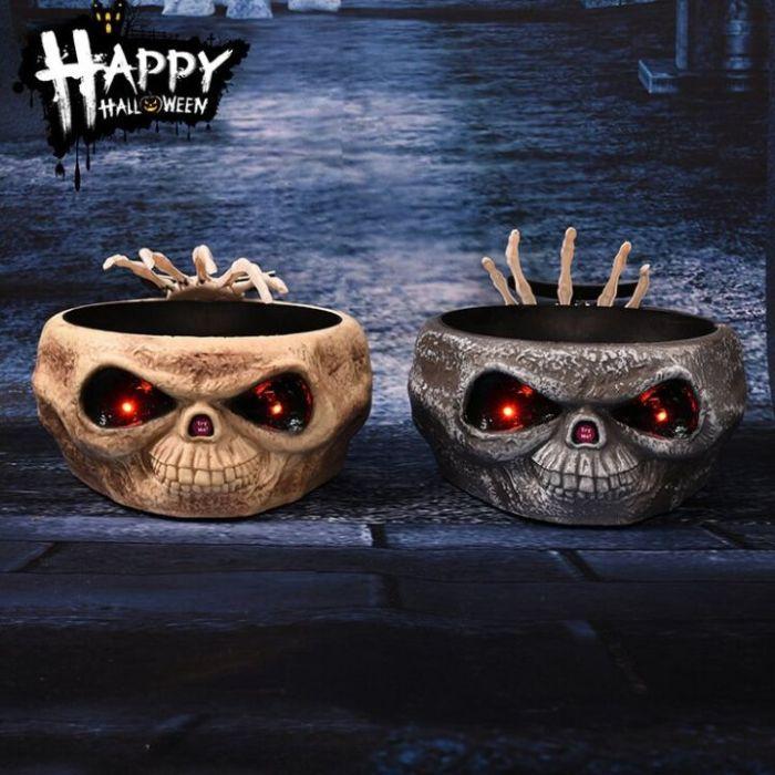 Homarden Animated Halloween Skull Bowl