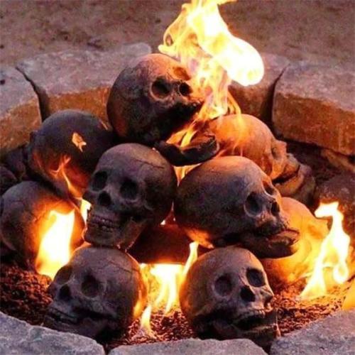 Ceramic Imitation Human Skull Fire Log, Halloween Fire Pit Skulls