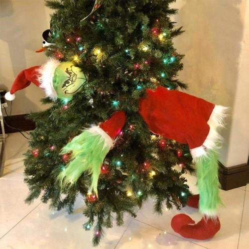 Furry Green Grinch Arm Ornament Holder For The Christmas Tree