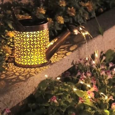 Solar Waterfall Lights Outdoor Garden Decor Yard Romantic Atmosphere