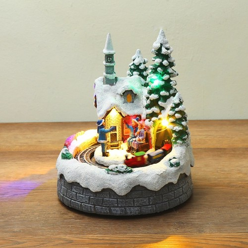 North Pole Village Musical Ornament With Light and Motion