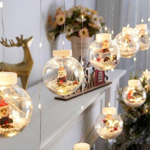 Christmas Balls Santa Garland Curtain Lights