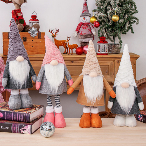 Table Christmas Ornaments - Gnome Doll with Telescopic Legs Winter Elf