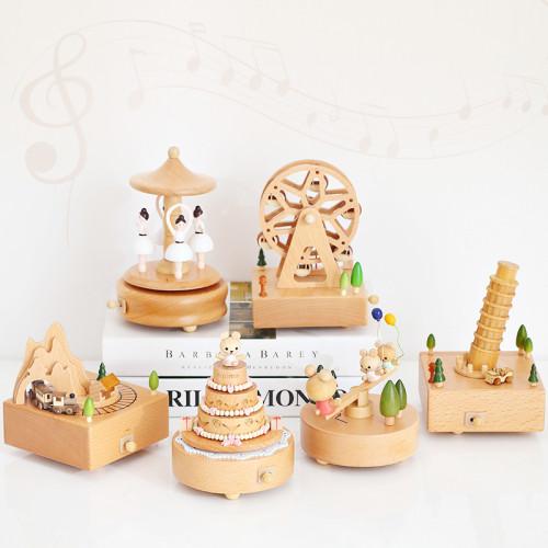 Handmade Wooden Rotating Music Boxes