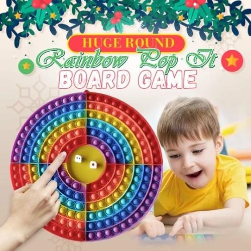 🎅4 Player HUGE ROUND Rainbow Pop It Board Game