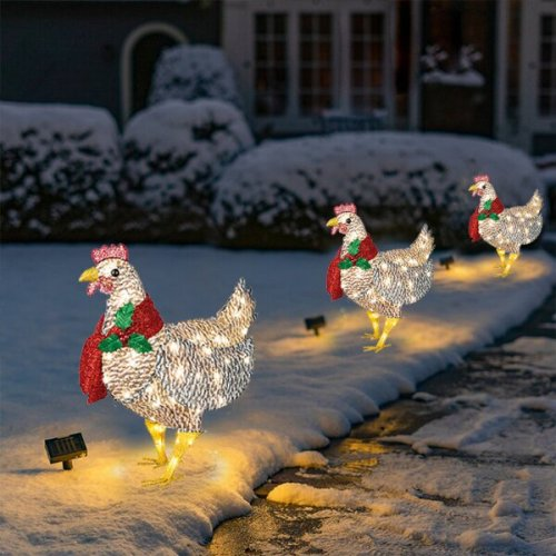 50% OFF-Light-Up Chicken with Scarf Holiday Decoration