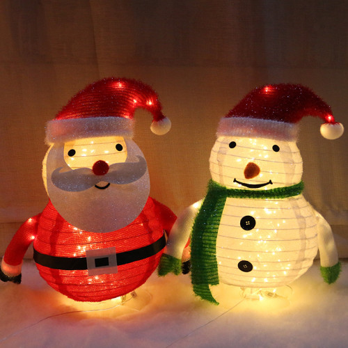 Fluffy foldable / pop-up Christmas snowman and Santa Claus Christmas indoor and outdoor decoration