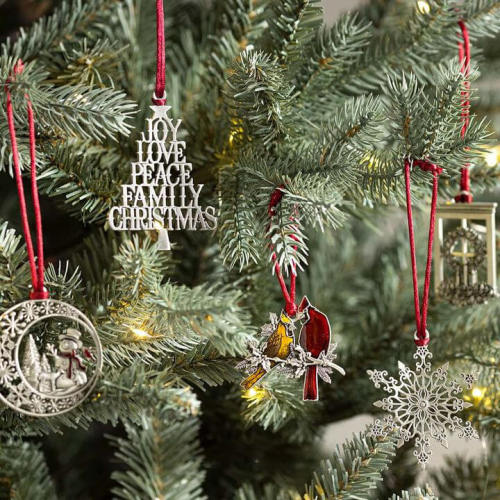 SOLID PEWTER CHRISTMAS TREE ORNAMENT
