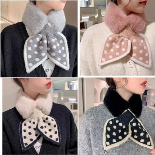 💕2021 Korea Style Fur Collar Cross Plush Scarf