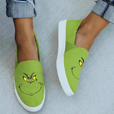 Grinch Flat Heel Canvas Flats