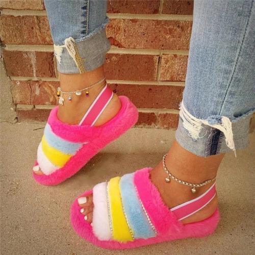 Comfy Fluffy Fur Cuty Hit Color Open Toe Slip On Sandals