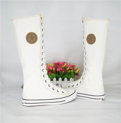 Canvas Sneakers Lace Up Zipper Knee Boots