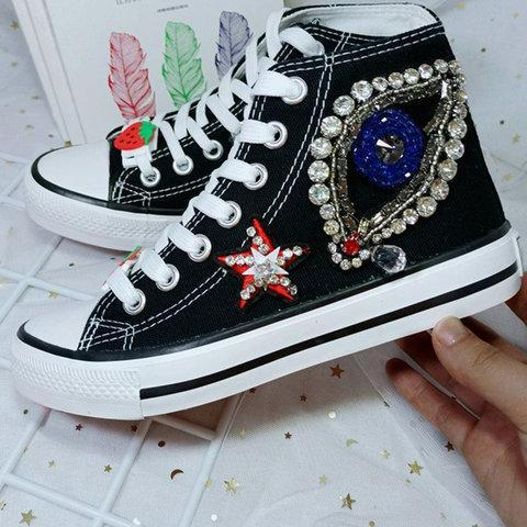 Fabric Hiking Flat Heel Rhinestone Sneakers