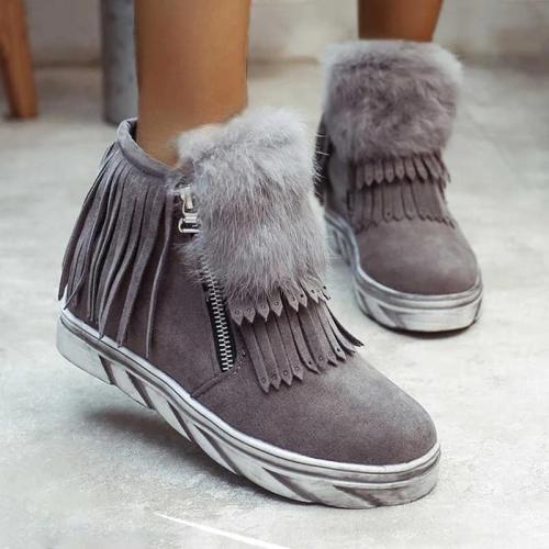 Women Double Zipper Tassel Lovely Ankle Boots