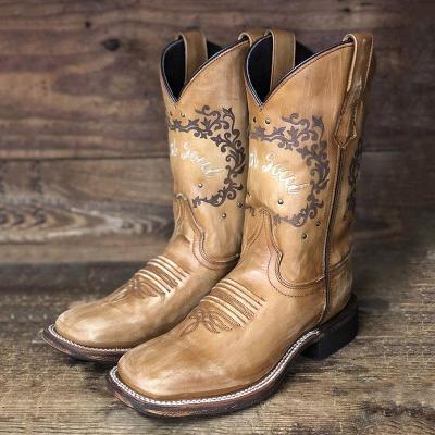 Square Toe Slip-On Block Heel Color Block Thread Casual Boots