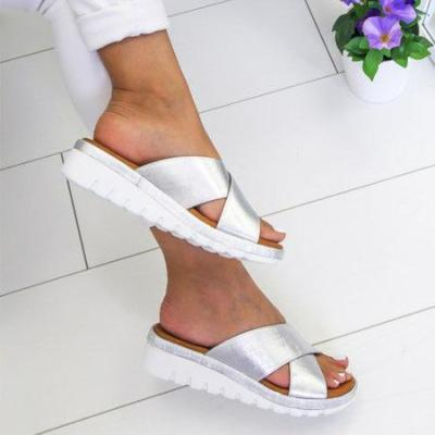 Women Cross Slip-on Sandals