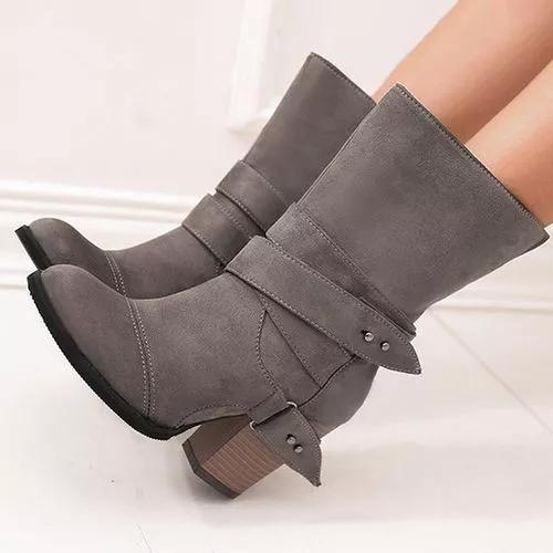 Women's Buckle Mid-Calf Boots