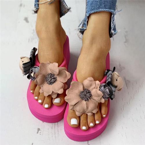 Flower Embellished Toe Post Wedge Muffin Slipper Sandals