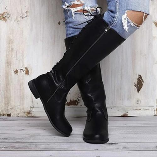 Low Heel Side Zipper Boots