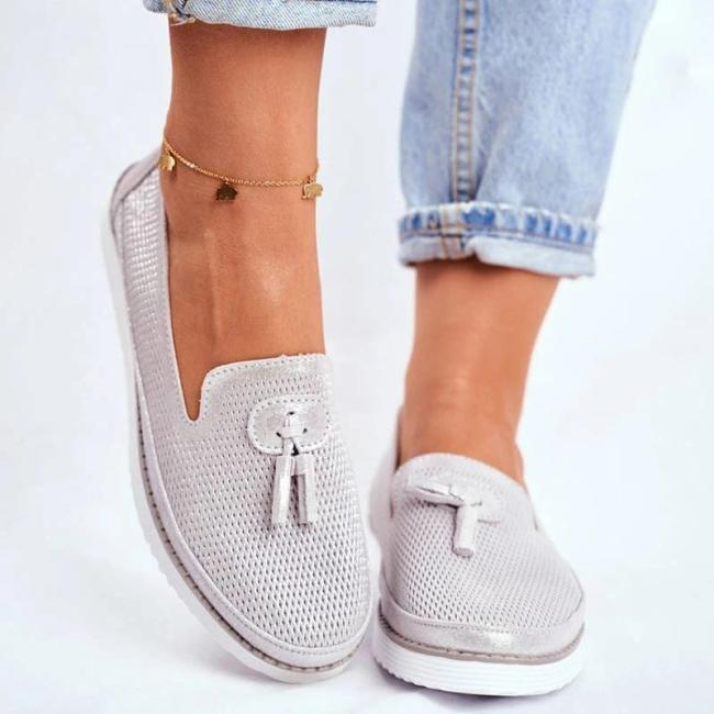 Women Comfy Hollow-out Tassel Slip On Flat Heel Shoes Loafers
