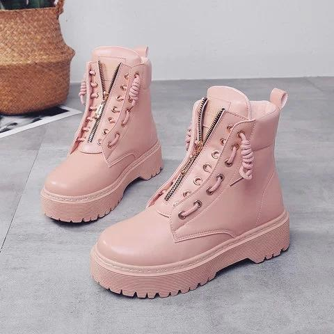 *Women Flat Heel Martin Boots Casual Shoes