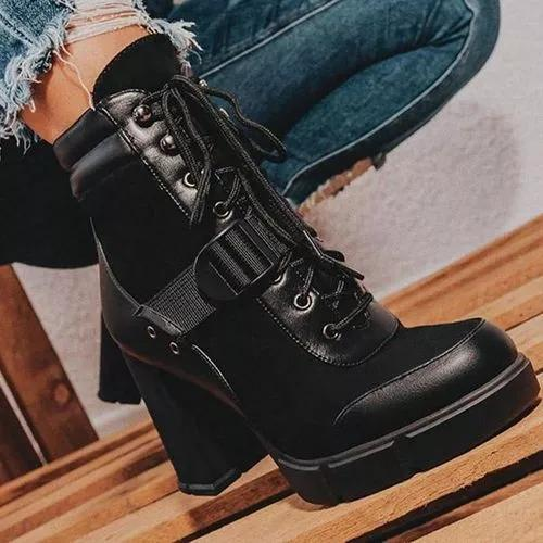 Women's Lace-up Ankle Boots Chunky Heel Boots