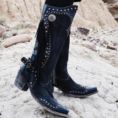 Women Vintage Tassel Western Boots With Zipper