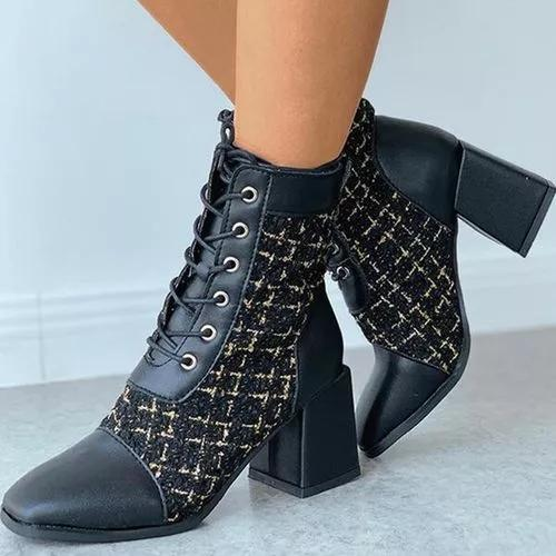 Women's Lace-up Split Joint Ankle Boots