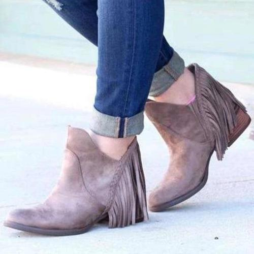 Tassel Faux Suede Leather Ankle Boots
