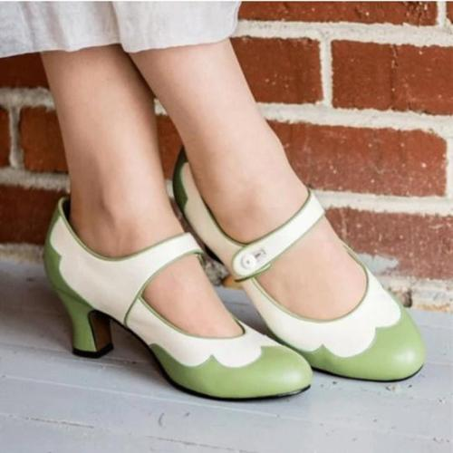 Fashion round toe mid-heel women's shoes