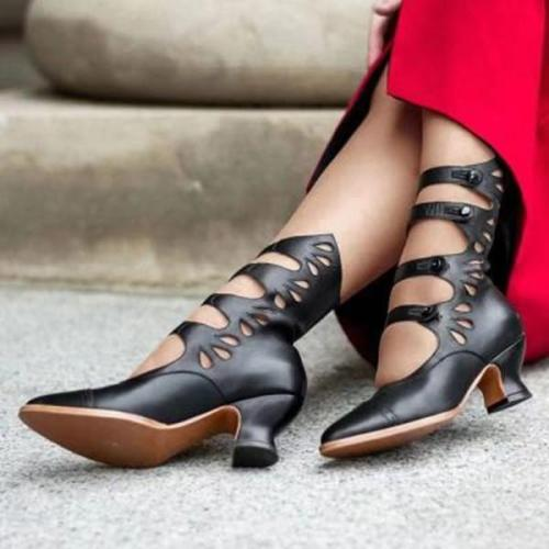 Vintage Handmade Floral Stitching PU Leather Ankle Boots