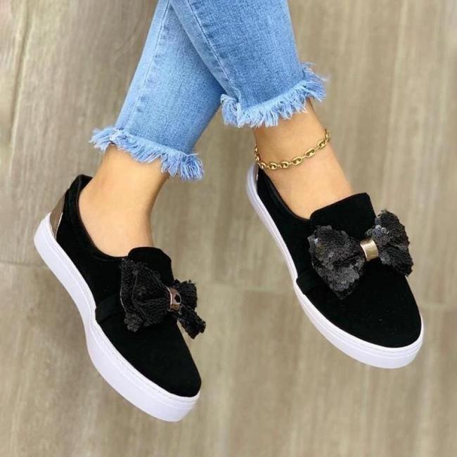 Women Stylish Denim Paillette Bowknot Slip On Loafers