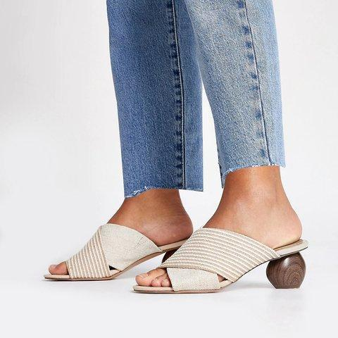 Women's Beige Block Heel Peep Toe Summer Slippers