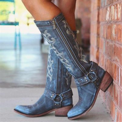 Side Zipper Round Toe Color Block Thread Casual Boots