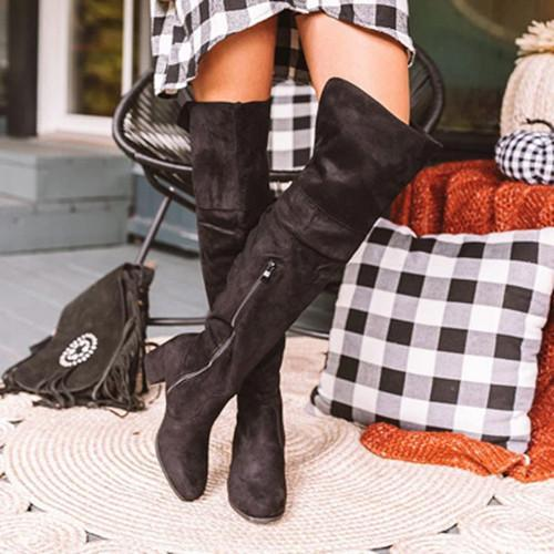 Long Calf Suede Boots