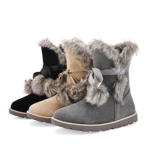 *Fuzzy Faux Outdoor Boots with Pom Pom