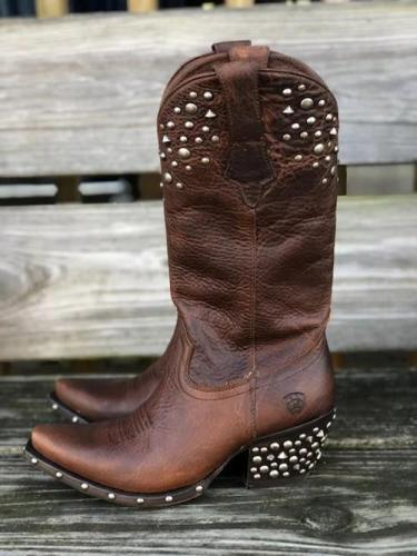 Women Pu Slip On Rivet Boots