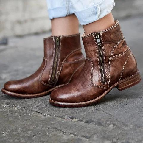 Vintage Double Zipper Women Booties Pu Zipper Low Heel Boots