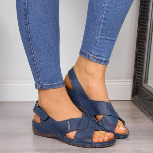 COMFY SOFT MAGIC TAPE WEDGES DAILY CROSSED SANDALS