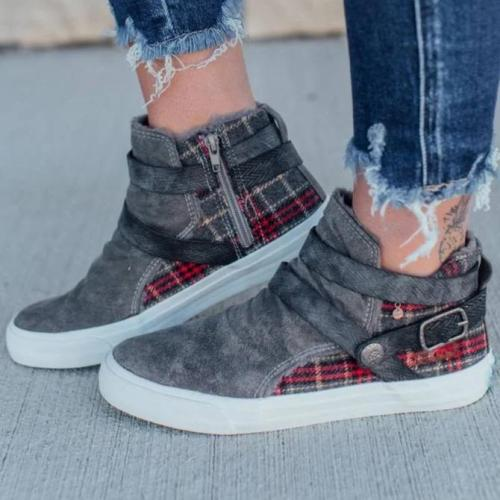 Gray Flat Heel Date Zipper Boots