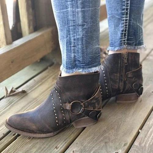 Low Calf Vintage Rivet Boots
