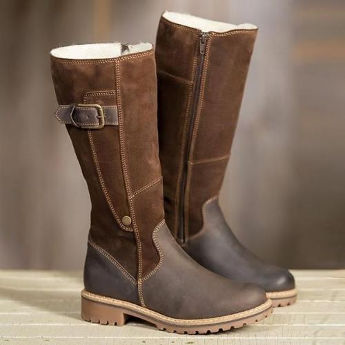 *Warm Ladies High Snow Shoes Leather Martin Boots