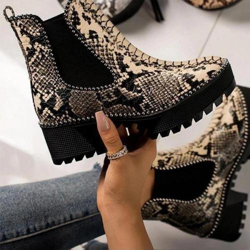Womens Slip on Animal Print Platform Boots