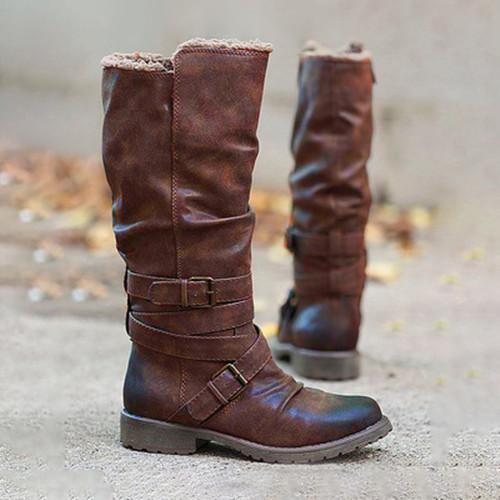 Low Heel Buckle Boots