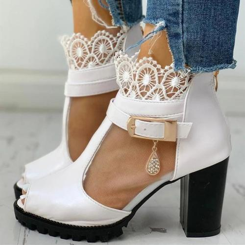 Peep Toe Lace Decoration T-Strap Heeled Sandals